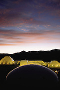 Biosphere 2 Project buildings seen at dawn. The Biosphere was a privately funded experiment, designed to investigate the way in which humans interact with a small self-sufficient ecological environment, and to look at possibilities for future planetary colonization.  1990