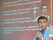 ROBERT KORZENIOWSKI - DIRECTOR SPORT'S DEPARTMENT TVP (NATIONAL TV BROADCAST) DURING PRESS CONFERENCE PEDRO'S CUP IN OLYMPIC CENTRE IN WARSAW. ATHLETIC MEETING PEDRO'S CUP WILL BE 17. SEPTEMBER IN SZCZECIN, POLAND.. .POLAND , WARSAW , SEPTEMBER 04, 2008..( PHOTO BY ADAM NURKIEWICZ / MEDIASPORT )..PICTURE ALSO AVAIBLE IN RAW OR TIFF FORMAT ON SPECIAL REQUEST.