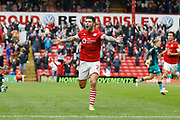 Goal celebration by Alex Mowatt of Barnsley  during the EFL Sky Bet Championship match between Barnsley and Swansea City at Oakwell, Barnsley, England on 19 October 2019.
