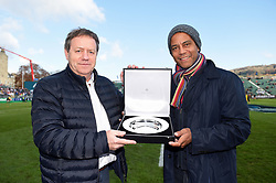 Simon Halliday presents Jeremy Guscott with a silver salver to commemorate the winners of the European Cup in its 25 year history - Mandatory byline: Patrick Khachfe/JMP - 07966 386802 - 16/11/2019 - RUGBY UNION - The Recreation Ground - Bath, England - Bath Rugby v Ulster Rugby - Heineken Champions Cup