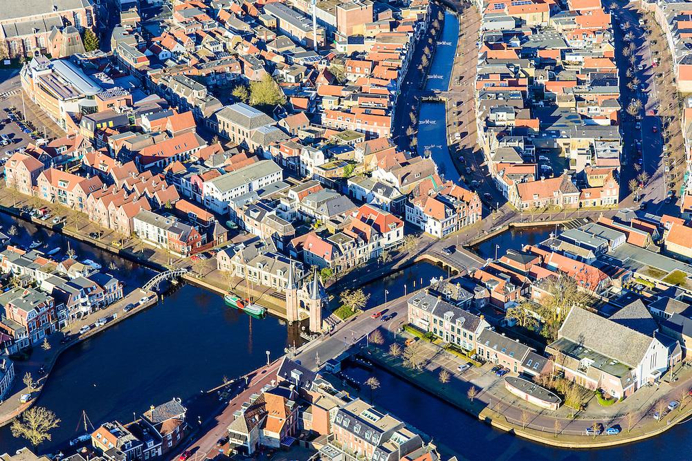 Nederland, Friesland, Sneek, 28-02-2016; overzicht binnestad Sneek met Waterpoort, en verschiullende grachten.<br /> Sneek, small frisian town.<br /> <br /> <br /> luchtfoto (toeslag op standard tarieven);<br /> aerial photo (additional fee required);<br /> copyright foto/photo Siebe Swart