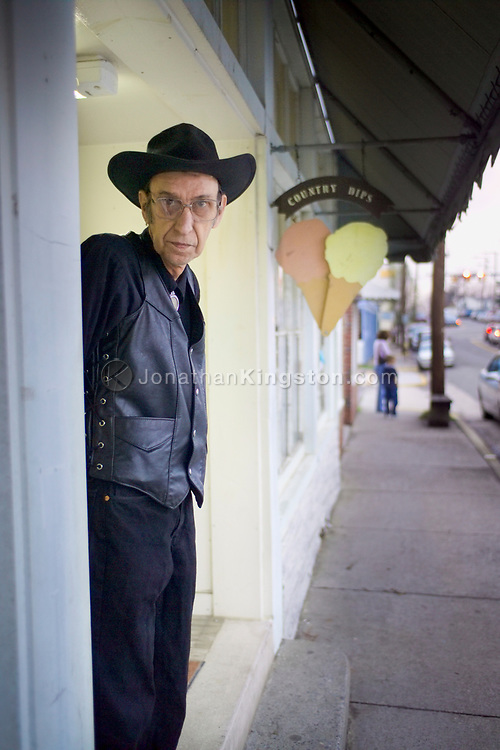 "FLOYD, VA,  Gerald, better known to locals as the ""Man in Black"" waits for the Friday night jamboree to begin at the country store in Floyd, Virginia."
