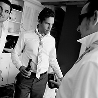 The groomsmen get ready before Travis and Amy's Vancouver Island wedding.