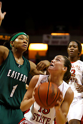 17 December 2006: Megan McCracken pulls back to fake Patrice McKinney. In a non-conference game, the Eagles of Eastern Michigan  lost by a score of 68-55 to the Redbirds in Redbird Arena on the campus of Illinois State University in Normal Illinois.<br />