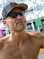 17-07-2014 NED: FIVB Grand Slam Beach Volleybal, Apeldoorn<br /> Poule fase groep A mannen - De Amerikanen waren een wedstrijd vrij aangezien de Duitsers geblesseerd afhaakten. Vrij spel dus op het centercourt / Philip Dalhausser USA