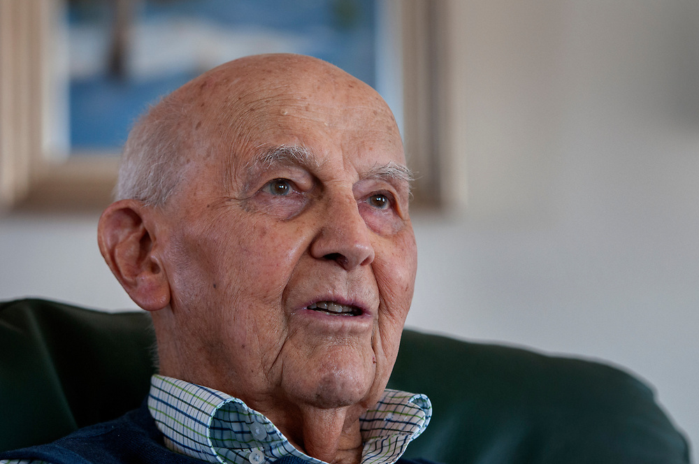 em040617g/jnorth/Joe Bergstein, survivor of the Bataan Death March and prison camp, talks about his experience in WWII at his home in Los Alamos. Photo shot Thursday April 6, 2017. (Eddie Moore/Albuquerque Journal
