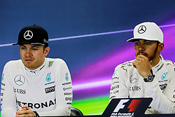 Formel 1: GP von Mexiko 2016 - Rennen in Mexiko-Stadt / 301016<br /> <br /> ***(L to R): Nico Rosberg (GER) Mercedes AMG F1 and Lewis Hamilton (GBR) Mercedes AMG F1 in the FIA Press Conference.<br /> 30.10.2016. Formula 1 World Championship, Rd 19, Mexican Grand Prix, Mexico City, Mexico, Race Day.<br />  Copyright: Bearne / XPB Images / action press ***