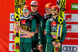 Second placed team of Germany: Richard Freitag (GER), Karl Geiger (GER), Constantin Schmid (GER) and Markus Eisenbichler (GER) celebrate during trophy ceremony after the Ski Flying Hill Team Competition at Day 3 of FIS Ski Jumping World Cup Final 2019, on March 23, 2019 in Planica, Slovenia. Photo by Vid Ponikvar / Sportida
