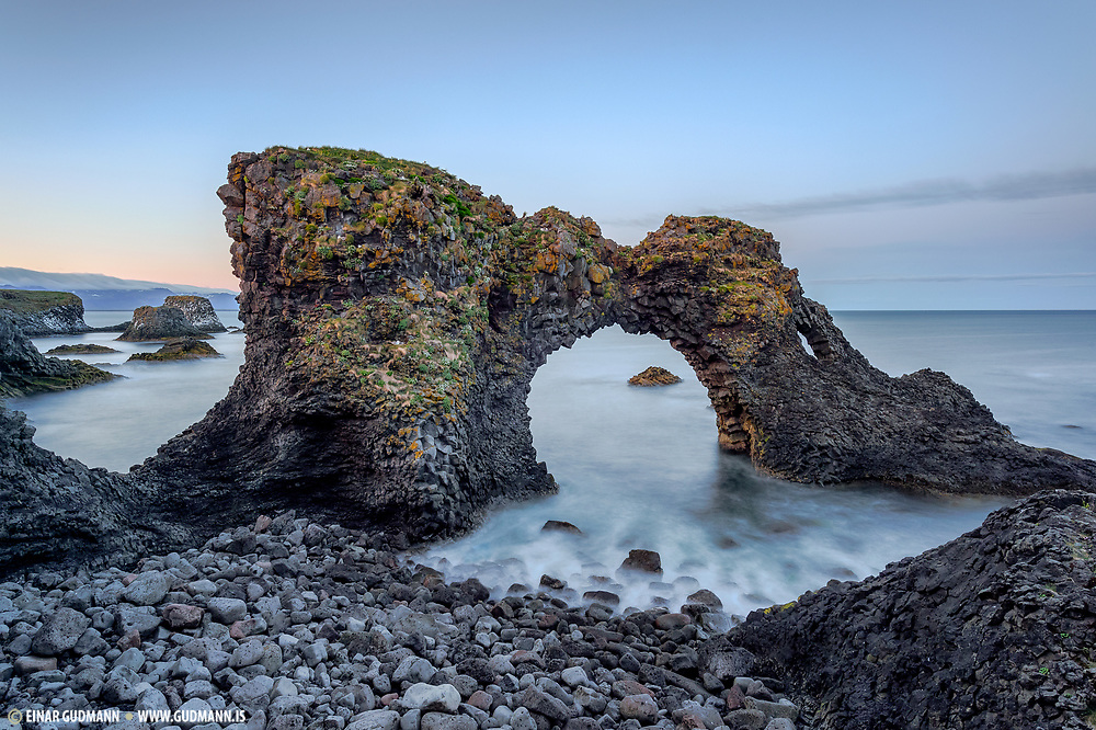 Gatklettur is a rock formation in the sea at Arnarstapi area in the Snæfellsnes Peninsula.