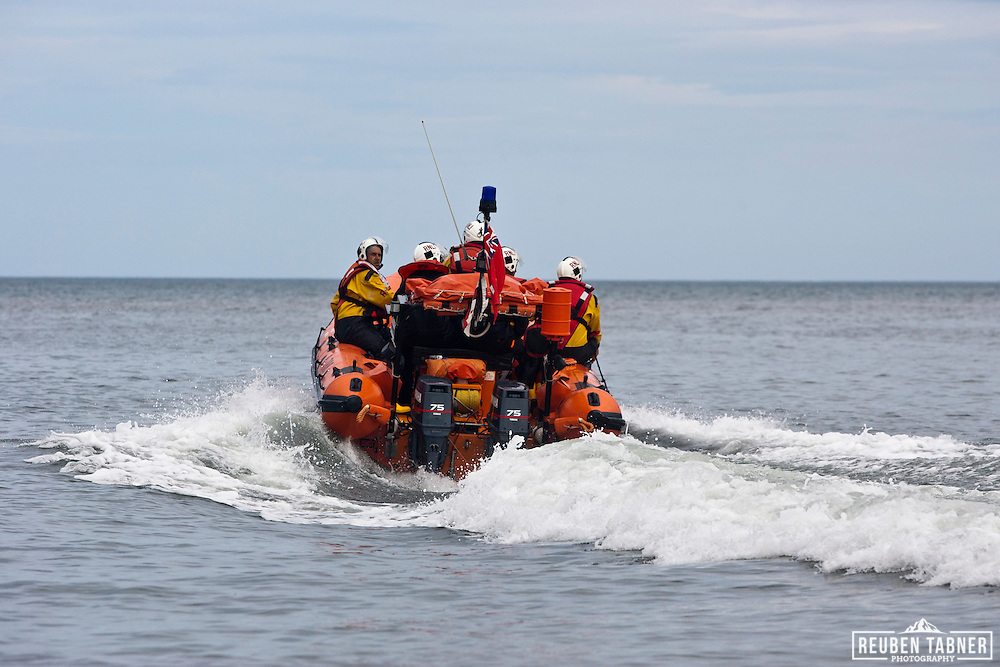 Atlantic 75 Class B RNLI Lifeboat, in the North Sea, off Staithes, North Yorkshire.