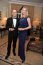 Left to right, BENOIT FILS - Martell Cellar Master and JODIE KIDD at a reception and dinner in association with Martell to launch Raymond Blanc's personal crusade to 'Celebrate French Craftsmanship in the UK' held at the Mandarin Oriental Hotel followed by dinner in the windows of Harrods, Knightsbridge, London on 18th October 2011.