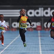 Adaria Reaves USA, (centre), winning the Girls' Fastest Kid 100m during the Diamond League Adidas Grand Prix at Icahn Stadium, Randall's Island, Manhattan, New York, USA. 25th May 2013. Photo Tim Clayton