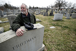 Richard D. Levy, Cemetery Manager at Mt. Carmel Cemetery and nearby Has Nebo Cemetery assesses the situation as over the weekend hundreds of headstones appear to be vandalized at Mt. Carmel Jewish Cemetery, in NorthEast Philadelphia, PA, on Feb 27, 2017.