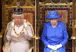 File photos dated 18/05/2016 (left) and 21/06/2017 (right) of Queen Elizabeth II delivering her speech during the State Opening of Parliament, in the House of Lords at the Palace of Westminster in London.