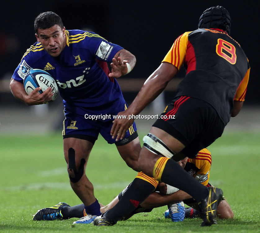 Kade Poki in action for the Highlanders.<br /> Super Rugby - Highlanders v Crusaders, 22 February 2013, Forsyth Barr Stadium, Dunedin, New Zealand.<br /> Photo: Rob Jefferies / photosport.co.nz