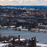 Gasworks park, University of Washington, Lake Washington Ship Canal and North Cascade Mountain Range, view in winter from east side of Queen Anne hill, Seattle, Washington