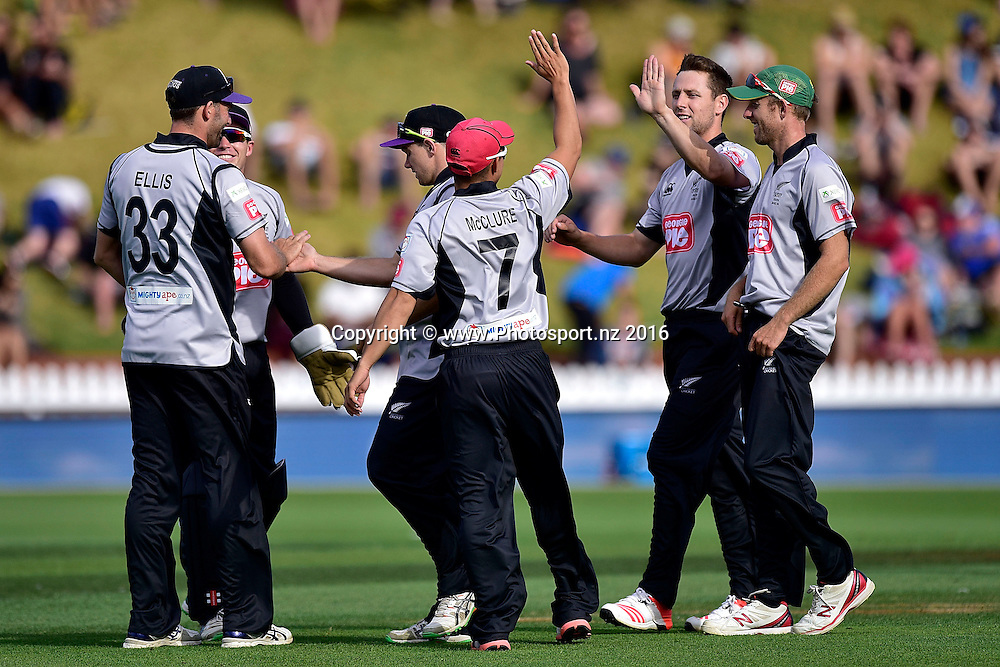 The South Island celebrate Anton Devcich of the North Island being caught during the North Island vs South Island cricket match at the Basin Reserve in Wellington on Sunday the 28th of February 2016. Copyright Photo by Marty Melville / www.Photosport.nz