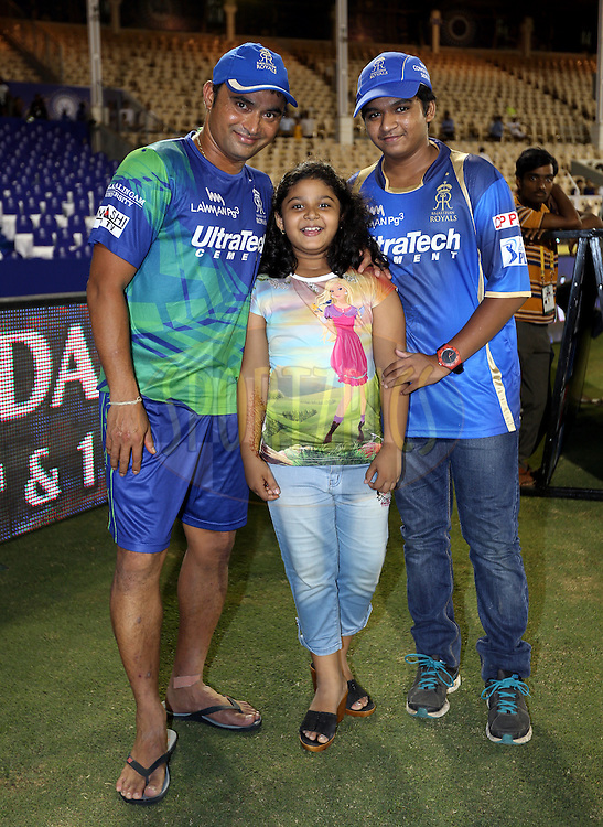 Rajasthan Royals player Pravin Tambe with kidsafter the match 41 of the Pepsi IPL 2015 (Indian Premier League) between The Rajasthan Royals and The Sunrisers Hyderabad held at the Brabourne Stadium in Mumbai, India on the 7th May 2015.<br /> <br /> Photo by:  Sandeep Shetty / SPORTZPICS / IPL