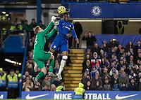 Football - 2019 / 2020 Premier League - Chelsea vs. West Ham United<br /> <br /> David Martin (West Ham United) tries to reach the high ball with Fikayo Tomori (Chelsea FC) at Stamford Bridge <br /> <br /> COLORSPORT/DANIEL BEARHAM
