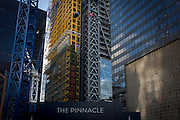 The large construction project known as the Pinnacle, on Bishopsgate in the financial City of London. Construction work has been suspended again on the Pinnacle in the City of London. Contractor Brookfield is understood to have been told to stop work following more funding concerns over the Square Mile's tallest tower. Brookfield restarted work last September after developer Arab Investments put together a new finance package. But a lack of a pre-let tenant has now caused further delays on site leaving Byrne Bros concrete cores standing idle. The Bishopsgate Tower, informally referred to as The Pinnacle, was to be a 288 m (945 ft), 64-storey skyscraper in the centre of London's main financial district.