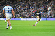 Another Greig Laidlaw penalty takes Scotland to 6-3 during the Autumn Test match between Scotland and Argentina at Murrayfield, Edinburgh, Scotland on 24 November 2018.