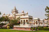 The Jaswant Thada cenotaph in Jodhpur, Rajasthan, India serves as a cremation grounds and mausoleum for the royal family of Manwar.