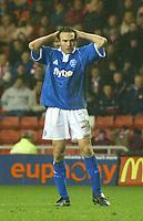 Photo. Andrew Unwin.<br /> Sunderland v Birmingham City, FA Cup Fifth Round, Stadium of Light, Sunderland 14/02/2004.<br /> Birmingham's Stan Lazaridis rues a missed opportunity.