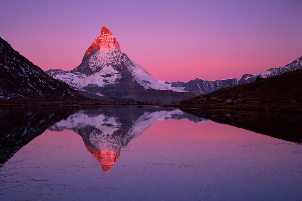 Mission Matterhorn, View from Riffellake to Matterhorn (left) 4478 m
