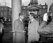 European Foreign Ministers Meet in Dublin.  (J2)..13.02.1975..02.13.1975..13th February 1975..A meeting of European foreign ministers took place in Dublin today. Ireland's representative at the meeting was Dr Garret Fitzgerald, the minister for Foreign Affairs. Other ministers attending the meeting were:.Mr M.Van Eslande...Belgium..Mr M.E. Joergenson...Denmark..Mr M.M.Rumor...Italy..Mr M.Jean Sauvagnargues...France..Mr M.Gaston Thorn...Luxembourg..Mr M.M.Van der Stoel...Holland..Mr Hans-Dietrich Genscher...Germany..Mr Roy Hattersley...Great Britain..and representing the Commission,.Mr. M.Francois-Xavier Ortoli..St Patrick's Hall,Dublin Castle, was the venue chosen for the meeting...Pictured on their arrival at Dublin Castle the attending Foreign Ministers were grilled by the media.