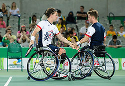 Alfie Hewett (L) and Gordon Reid of the UK play against Stephane Houdet (out of frame) and Nicolas Peifer (out of frame) of France in the Tennis Men's Doubles Gold Medal Match during Day 8 of the Rio 2016 Summer Paralympics Games on September 15, 2016 in Olympic Tennis Centre, Rio de Janeiro, Brazil. Photo by Vid Ponikvar / Sportida