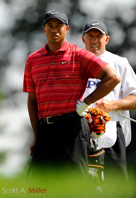 Aug 16, 2009; Chaska, MN, USA; Tiger Woods (USA), left, with his caddie Steve Williams on the 5th hole during the final round of the 2009 PGA Championship at Hazeltine National Golf Club.  ©2009 Scott A. Miller