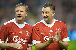 LIVERPOOL, ENGLAND - Thursday, May 14, 2009: Liverpool Legends' Ronnie Whelan and John Aldridge before the Hillsborough Memorial Charity Game at Anfield. (Photo by David Rawcliffe/Propaganda)