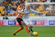 Wolverhampton Wanderers midfielder Conor Coady (16) makes a tackle on Derby County midfielder Will Hughes (19) 0-2 during the EFL Sky Bet Championship match between Wolverhampton Wanderers and Derby County at Molineux, Wolverhampton, England on 5 November 2016. Photo by Alan Franklin.