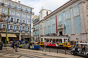 A tram passing through a busy Luís de Camões square on the 29th of October 2019, Lisbon, Portugal. (photo by Andrew Aitchison / In pictures via Getty Images)