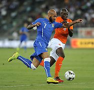 Simone Zaza of Italy and Bruno Martins Indi of Netherlands during the International Friendly match at Stadio San Nicola, Bari<br /> Picture by Stefano Gnech/Focus Images Ltd +39 333 1641678<br /> 04/09/2014
