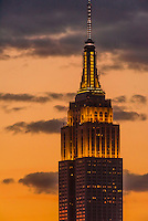 Empire State Building at twilight, New York, New York USA.