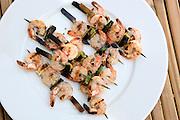 Grilled shrimps on skewers