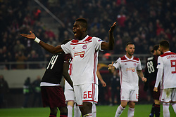 December 13, 2018 - Piraeus, Attiki, Greece - Pape Abou Cisse (no 66) of Olympiacos is addressing to the fans of his team, in order to support their effort against Milan. (Credit Image: © Dimitrios Karvountzis/Pacific Press via ZUMA Wire)