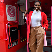 Perri Shakes-Drayton is a GB Olympic athlete attend Brigits Bakery host their Pink Ribbon Afternoon Tea in aid of the Pink Ribbon Foundation, London, UK. 16 October 2018.