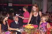 Mrs Bernard Ecclestone, Bernie Ecclestone, Duchess of York and Mrs. Ron Davies.Fundraising dinner in aid of Tommy's Campaign, Bloomberg Space. © Copyright Photograph by Dafydd Jones 66 Stockwell Park Rd. London SW9 0DA Tel 020 7733 0108 www.dafjones.com