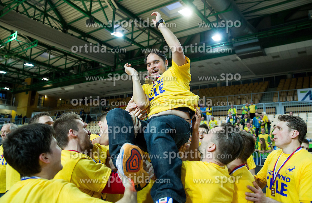 Branko Tamse, head coach of RK Celje PL and his players celebrate after winning during handball match between RK Celje Pivovarna Lasko and RK Gorenje Velenje in Final of Slovenian Handball Cup 2015, on March 29, 2015 in Arena Bonifika, Koper, Slovenia. RK Celje Pivovarna Lasko became Slovenian Cup Champion 2015. Photo by Vid Ponikvar / Sportida