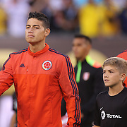 EAST RUTHERFORD, NEW JERSEY - JUNE 17: James Rodriguez #10 of Colombia leads the team out during the Colombia Vs Peru Quarterfinal match of the Copa America Centenario USA 2016 Tournament at MetLife Stadium on June 17, 2016 in East Rutherford, New Jersey. (Photo by Tim Clayton/Corbis via Getty Images)