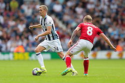 Darren Fletcher of West Bromwich Albion is challenged by Adam Clayton of Middlesbrough - Rogan Thomson/JMP - 28/08/2016 - FOOTBALL - The Hawthornes - West Bromwich, England - West Bromwich Albion v Middlesbrough - Premier League.