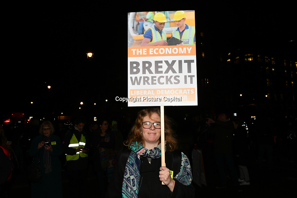 Hundreds attends People's vote to Stop Brexit rally due to Brexit vote in Parliament on 15 January 2019, London, UK