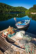 Fishing boat and nets, Soline, Mljet Island National Park, Dalmatia, Croatia