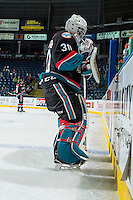 KELOWNA, CANADA - NOVEMBER 12:  Michael Herringer #30 of the Kelowna Rockets stands on the ice during warm up against the Prince Albert Raiders on November 12, 2016 at Prospera Place in Kelowna, British Columbia, Canada.  (Photo by Marissa Baecker/Shoot the Breeze)  *** Local Caption *** Michael Herringer;