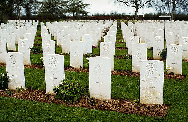 March 1994, Bayeux, France --- Rows of graves of British soldiers killed in World War II, Bayeux, France. --- Image by © Owen Franken/Corbis