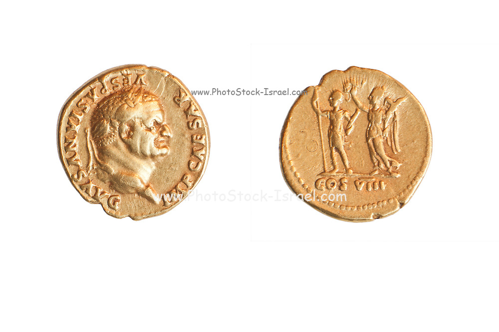 The Emperor and Nike. Roman gold coin depicting emperor Vespasian 69-79 CE (private collection)
