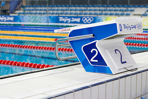 The New Omega Starting Block At The National Aquatics Center At The Beijing  2008 Olympic Games.