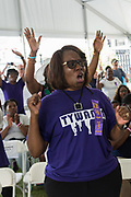 Family members of Tywanza Sanders, killed in the Mother Emanuel African Methodist Episcopal Church shooting join in song during a memorial service marking the 2nd anniversary of the mass shooting June 17, 2017 in Charleston, South Carolina. Nine members of the historic African-American church were gunned down by a white supremacist during bible study on June 17, 2015.
